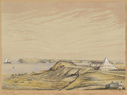 View of Karachi Harbour from Clifton (Sind).  April 1851